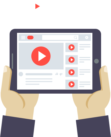 youtube with hand and tablet devices